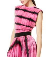 women's alice + olivia desma tie dye shoulder pad tank, size small - pink