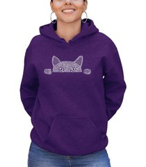 women's word art peeking cat hooded sweatshirt