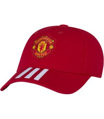 boné aba curva manchester united adidas baseball cap - strapback - adulto - vermelho/branco