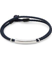 saks fifth avenue men's sterling silver, lapis lazuli & braided leather bracelet