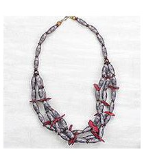 recycled plastic and wood beaded necklace, 'god-sent in red' (ghana)