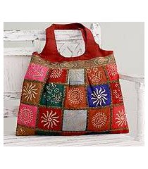 embellished tote handbag, 'crimson in kutch' (india)