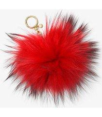 mk portachiavi in pelliccia - rosso brillante (rosso) - michael kors