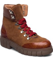 stb-rebel hiker croc shoes boots ankle boots ankle boot - flat brun shoe the bear