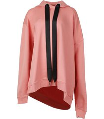asymmetric hoodie with open back pink