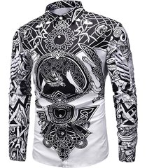 luxury print button long-sleeved shirt