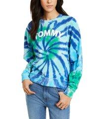 tommy hilfiger cotton tie-dyed logo sweatshirt