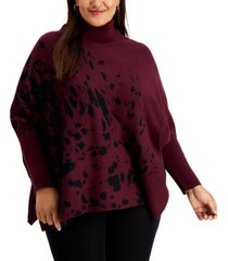 alfani plus size printed drop-shoulder sweater, created for macy's