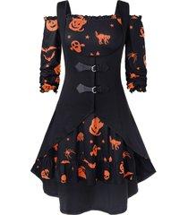 plus size off the shoulder pumpkin print halloween vintage dress with vest