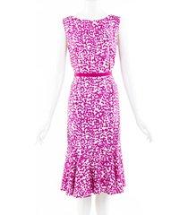 giambattista valli printed silk midi dress pink/geometric sz: m