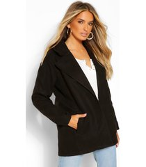oversized collared wool look coat, black