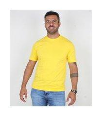 camiseta casual masculina gola redonda lucas lunny basica amarelo .