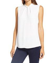 women's ming wang twist neck sleeveless top, size large - white