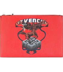 givenchy saggitarius print faux leather pouch - red