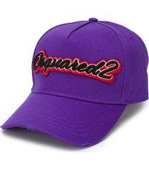 dsquared2 logo-embroidered baseball cap - purple