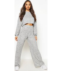 oversized baggy crop top en wide leg broek set, grijs