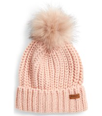 barbour saltburn faux fur pom beanie in pink at nordstrom