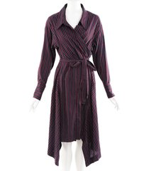 isabel marant red blue striped cotton wrap dress blue/red sz: s