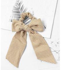 bowknot plaid print pony tail hair tie