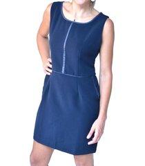 vestido apl/cuero azul alexandra cid