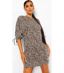 loshangende luipaardprint jurk met vleermuismouwen, brown