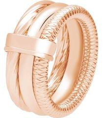 anello a fascia tre giri in acciaio rosato per donna