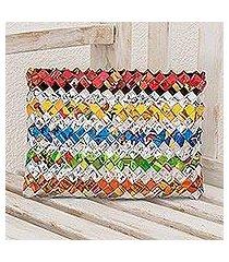 recycled metalized wrapper clutch handbag, 'festive' (guatemala)