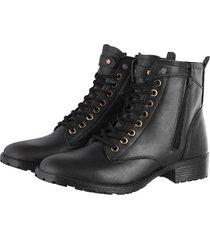 bota coturno preta iza tonelli  de couro de amarrar preta preto - preto - feminino - dafiti