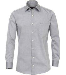 casa moda overhemd zilver grijs effen poplin kent ml6 comfort fit