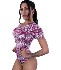 body cavado manga curta estampado blusa collant feminino