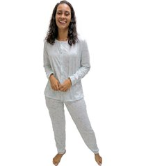pijama longo mardelle feminino aberto estampado - kanui