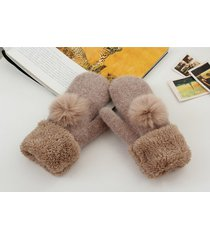 new fashion winter fingerless gloves mittens for women fur pom poms warm wool