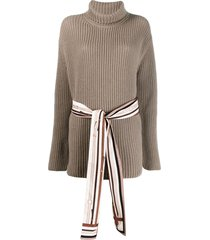fendi belted roll-neck cashmere jumper - neutrals