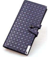 billetera, cartera tejida del monedero del botón de la-azul