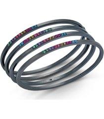 inc hematite-tone 4-pc. set multicolor pave bangle bracelets, created for macy's