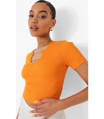 geribbelde crop top met korte mouwen en ketting detail, orange