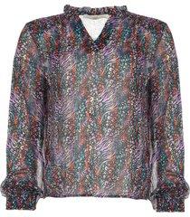 blouse met dierenprint charley  zwart
