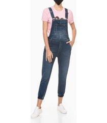 macacão jeans c/ barra elást - azul marinho - p
