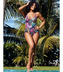 rio tropical underwire tummy control adjustable leg one-piece swimsuit d-gg