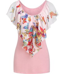 butterfly print capelet overlay t-shirt