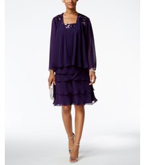 sl fashions sequined tiered dress and jacket