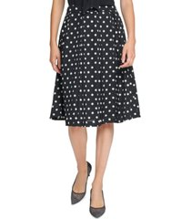 karl lagerfeld paris pleated dot-print skirt