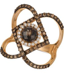 le vian chocolate smoky quartz (3/4 ct. t.w.) & diamond (7/8 ct. t.w.) statement ring in 14k rose gold