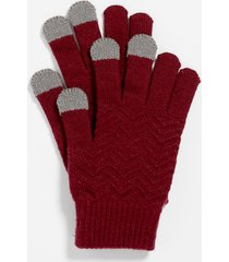 maurices womens burgundy finger tech knit gloves red
