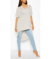 maternity ruched front tunic top, grey marl