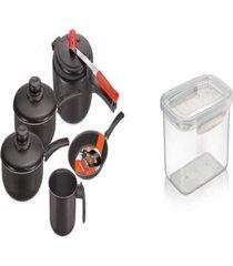kit pote plã¡stico para microondas + conjunto de 5 panelas - prata - dafiti