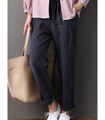 vita con coulisse a righe patchwork casual casual pantaloni