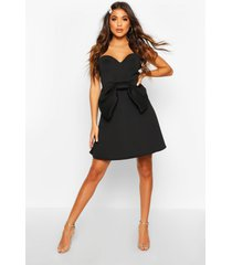 bandeau bow skater dress, black