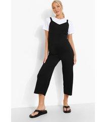 zwangerschap geribbelde culotte jumpsuit, black