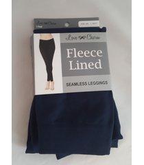 love charm fleece lined seamless leggings new in pack navy blue s/m  size 4-6